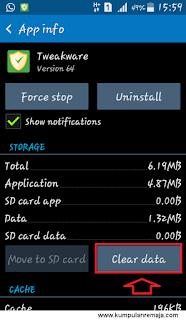hapus data pada aplikasi tweakware