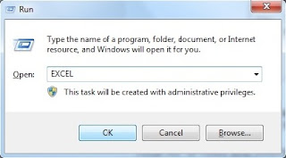 Open MS Excel through RUN dialog box