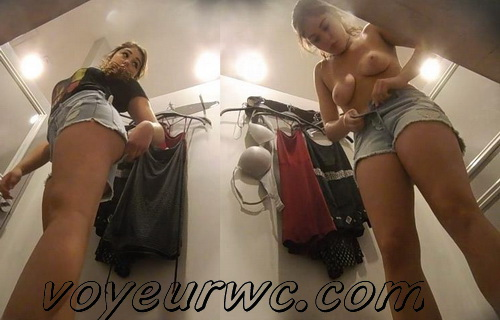 Hidden camera in the fittingr room in the store shoots juicy bums (Fitting Room 10)