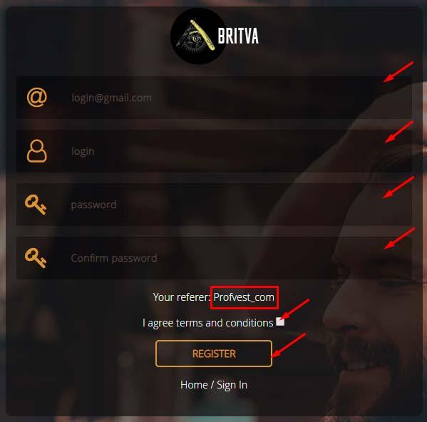 Регистрация в Britva 2