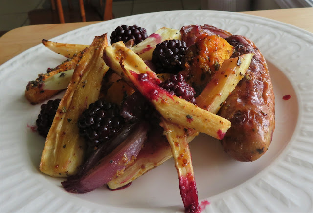 Sausage & Blackberry Tray Bake