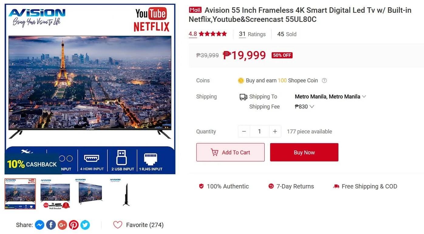 Avision 55-inch Frameless 4K Smart Digital LED TV