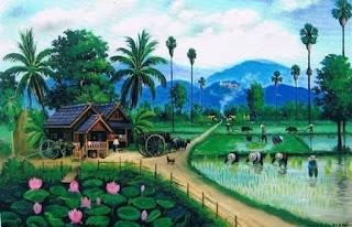 suasana desa petani yang menanam padi