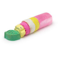 A cylindrical bright pink and yellow log with a circular pink and yellow product next to it on a bright background