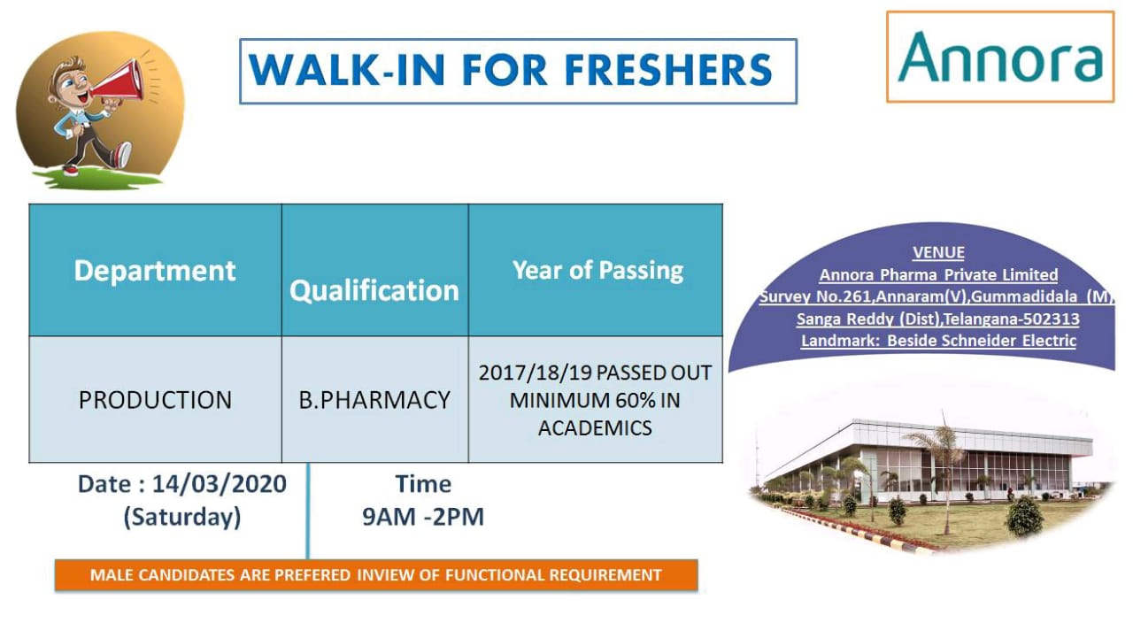 Annora Pharma – Walk in interview for Fresher on 14th March 2020