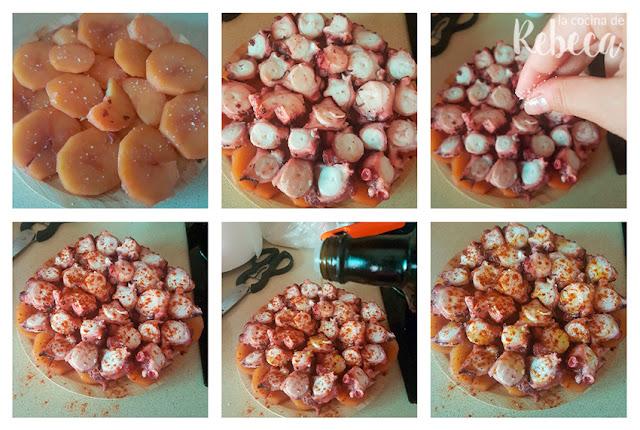 Receta de pulpo a la gallega: montaje del plato