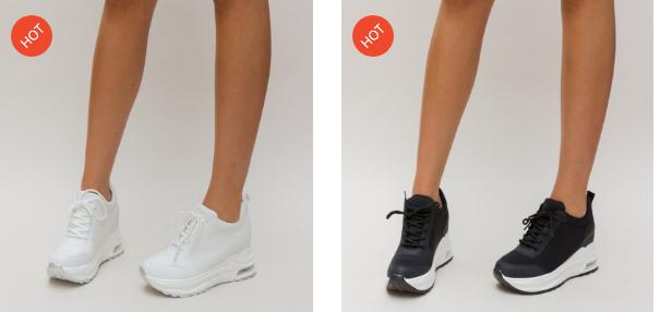 Adidasi cu talpa inalta moderni de femei negri, albi cu perna de aer