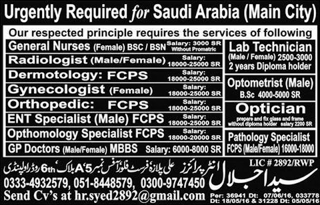 MBBS Doctors Jobs in Saudi Arabia for Specialist Doctors August 2016