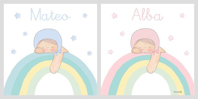 bebé arcoiris lámina infantil personalizada decoración infantil