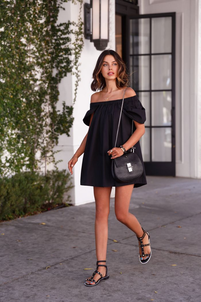 Off Shoulder Dress / All Black Outfit Summer Style - Viva Luxury