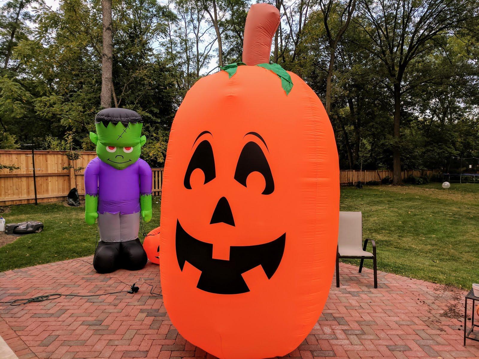 halloween inflatables - big pumpkin and frankenstein