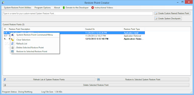 تحميل برنامج انشاء نقطة استعادة نظام للكمبيوتر Restore Point Creator 3.6