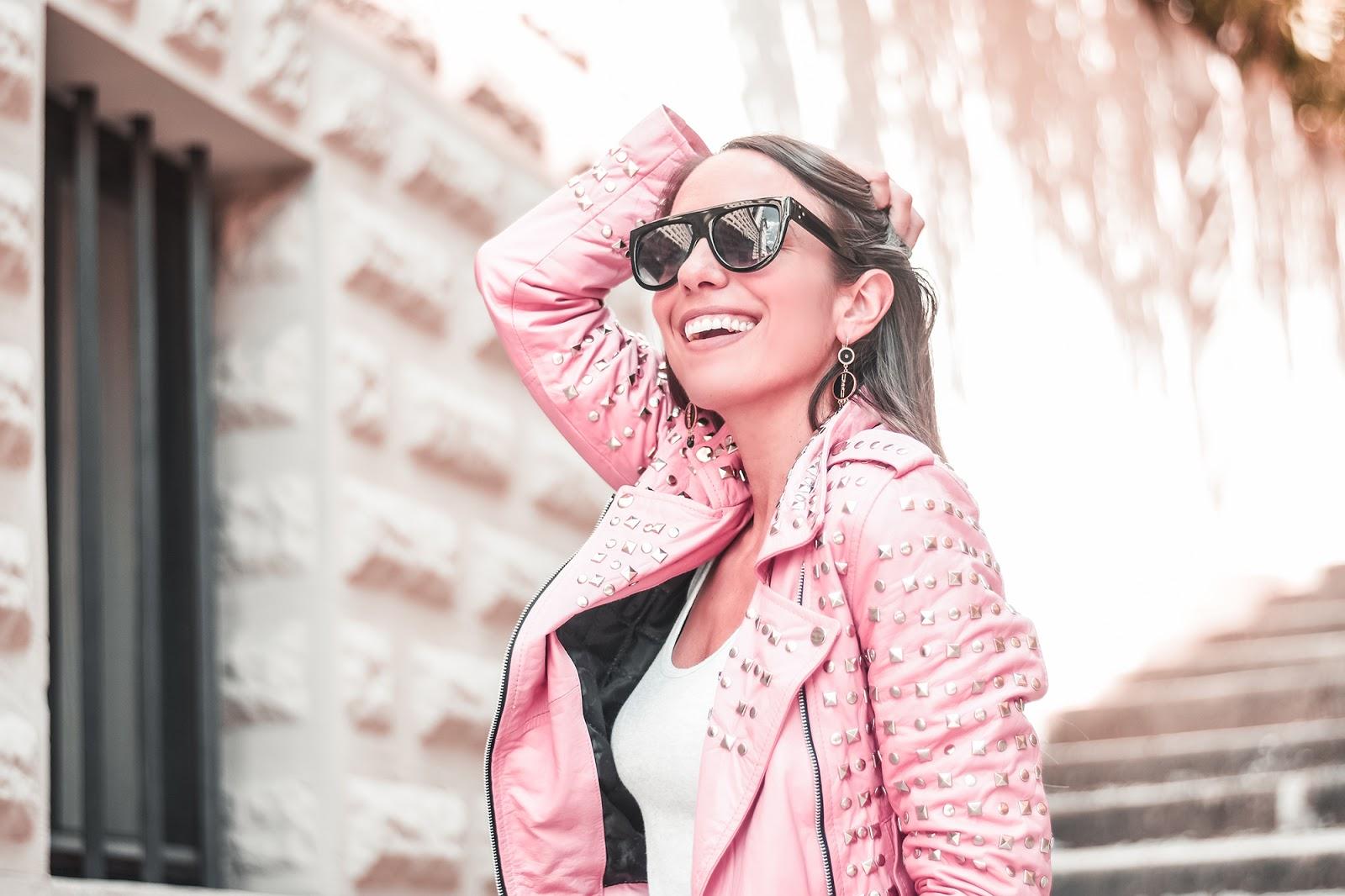 giacca pelle rosa