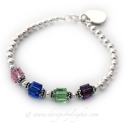 DBL-BB1-6mm Square 4 Birthstones and a Heart Engravable Charm.