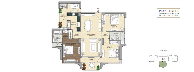 3 BHK - 2000 Sq.Ft. Flat Floor Plan Vipul Aarohan, Gurugram