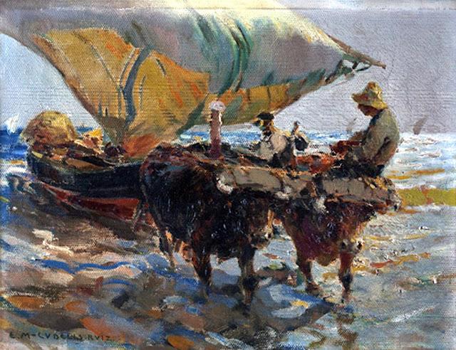 La pesca del bou, Enrique Martínez Cubells, Pintor español, Pintores españoles, Martínez Cubells, Paisajes de Enrique Martínez Cubells, Pintores Valencianos