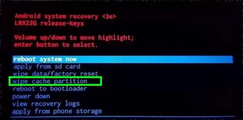 مسح قسم ذاكرة التخزين المؤقت