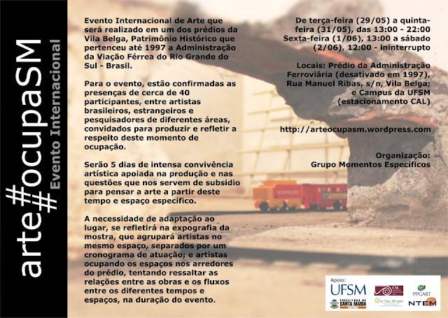 arte#ocupaSM - texto curatorial por Rebeca Stumm (Santa Maria, RS, 2012)