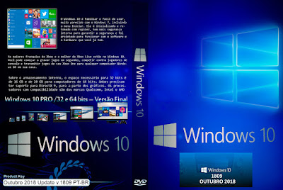 Sistema Operacional Windows 10 Pro x32 e x64-Bits Outubro 2018 Update v.1809 PT-BR ISO Oficial Microsoft DVD Capa