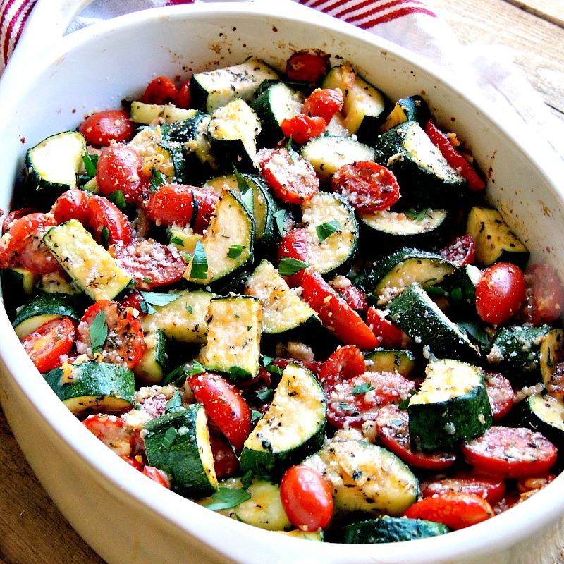 This Italian Baked Zucchini and Tomatoes recipe is one of the easiest side dishes you will ever make. It is vegetarian, low-carb, Keto friendly, and one that the whole family will love! #keto #lowcarb #vegetarian #healthy #sidedish #recipe   bobbiskozykitchen.com