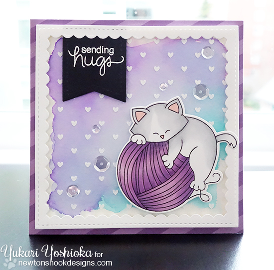 Cat and Yarn Card by Yukari Yoshioka | Newton Unwinds Stamp Set & Die Set by Newton's Nook Designs #newtonsnook
