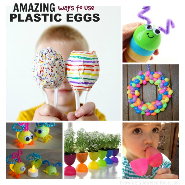 Easter crafts for kids using plastic Easter eggs.  #eastercraftsforkids #easteractivitiesforkids #plasticeastereggcrafts