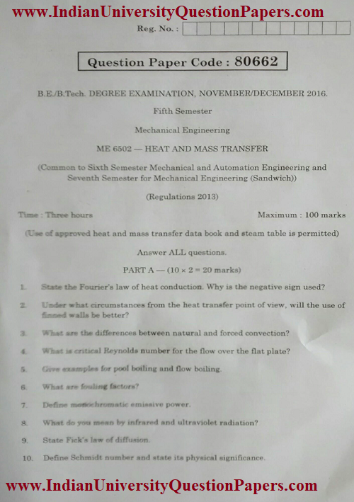ME6502 Heat and Mass Transfer Nov Dec 2016 Question Paper