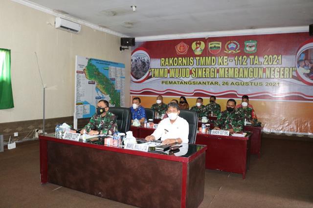 Danrem 022/PT Pimpin Rapat Koordinasi Teknis TMMD Ke-112 Tahun 2021 secara Virtual (Vicon)