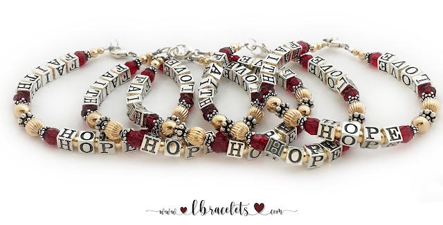 Faith Hope Love Red Message Bracelets with a Gold Ribbon Charm