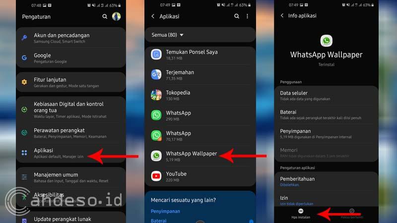 Cara Uninstall Aplikasi di Samsung