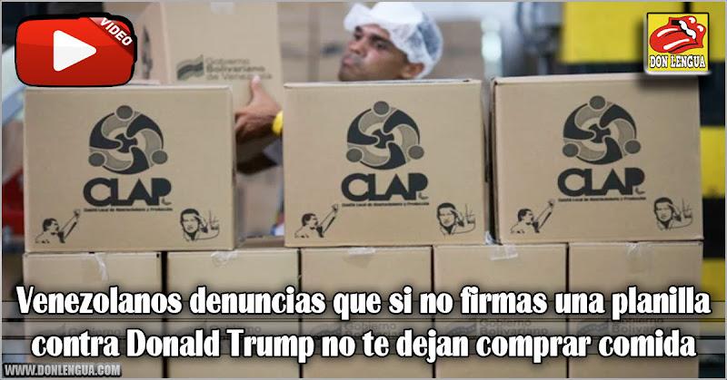 Venezolanos denuncias que si no firmas una planilla contra Donald Trump no te dejan comprar comida