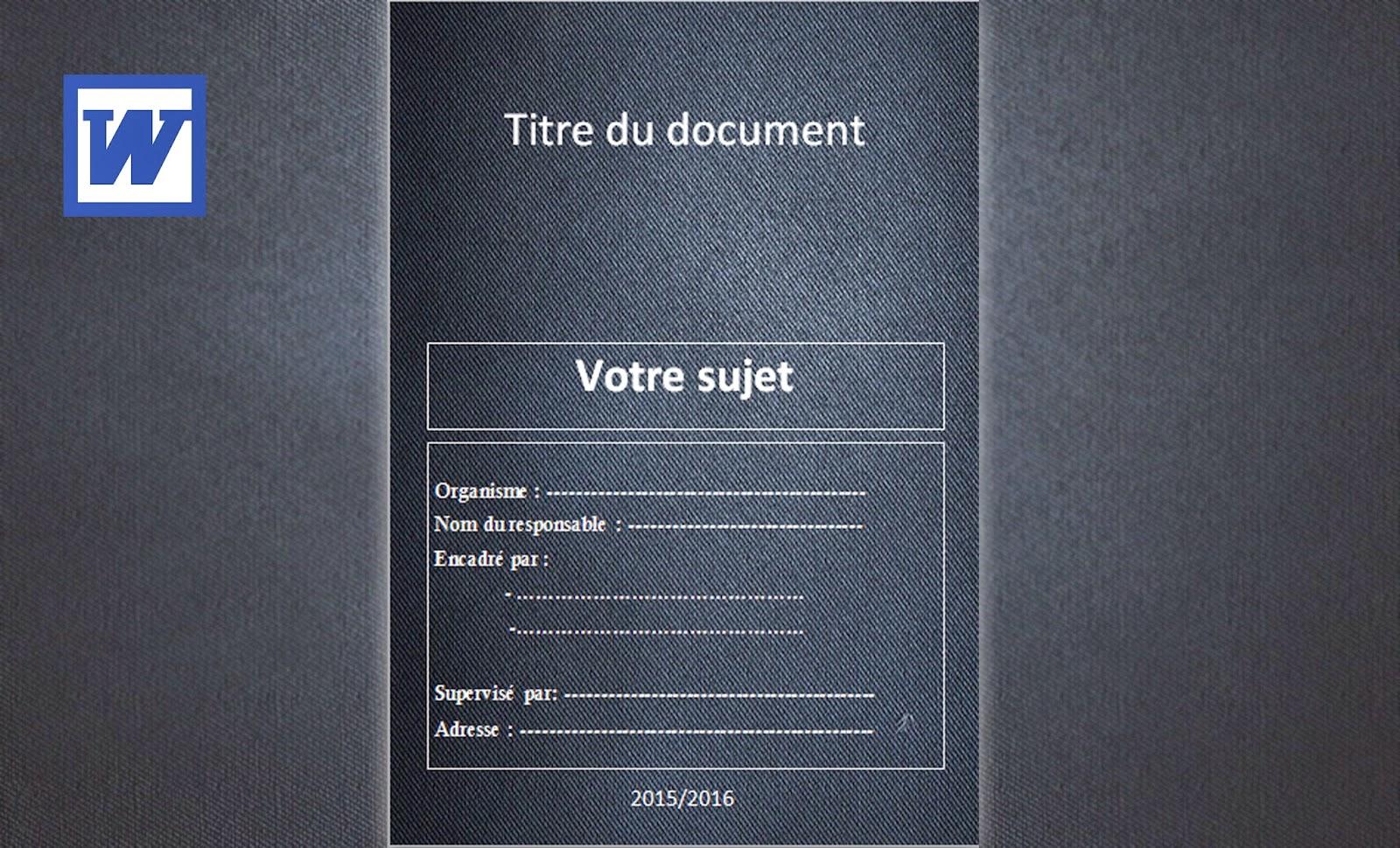 Exemple De Première Page D Un Exposé Word 2015