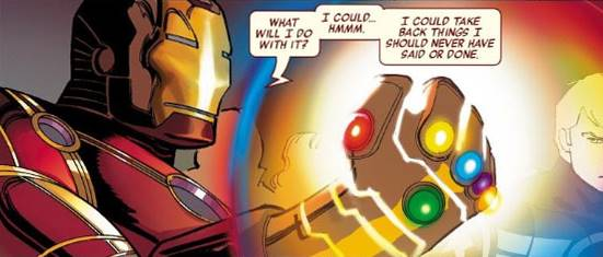 iron man memegang infinity gauntlet stones
