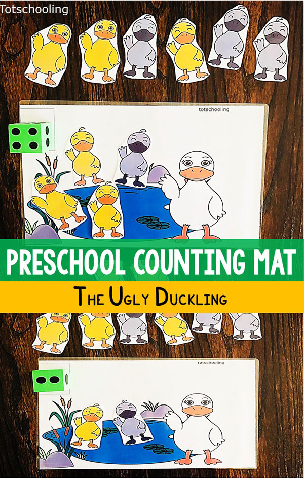 "FREE printable counting activity for toddlers and preschoolers to go along with the fairy tale ""The Ugly Duckling"". Fun early math activity for practicing counting and numbers 1-10."