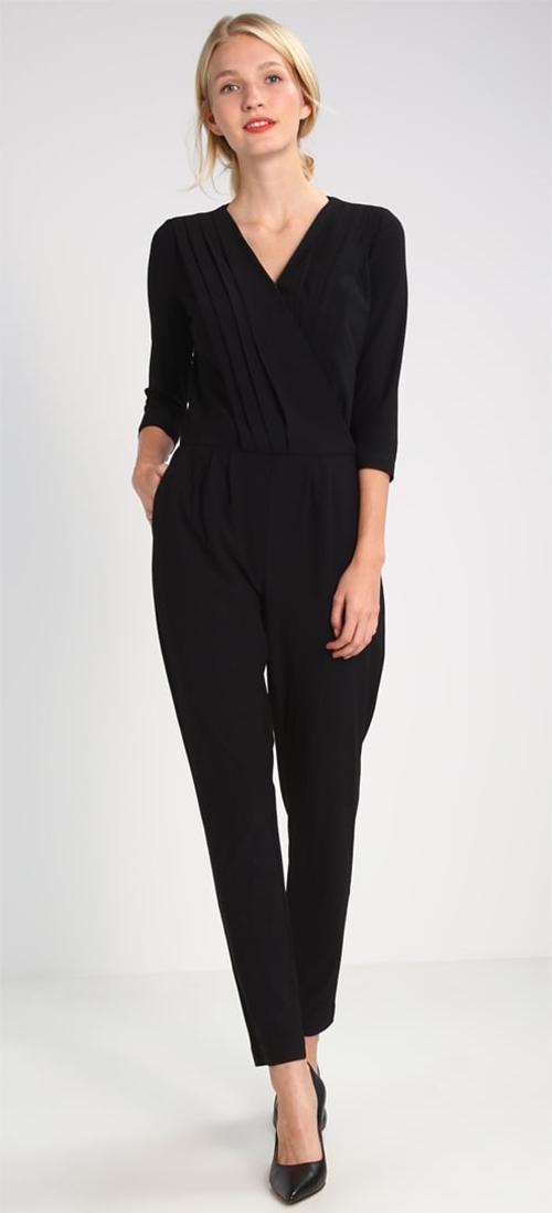 Combinaison pantalon femme manche 3/4 noire Morgan