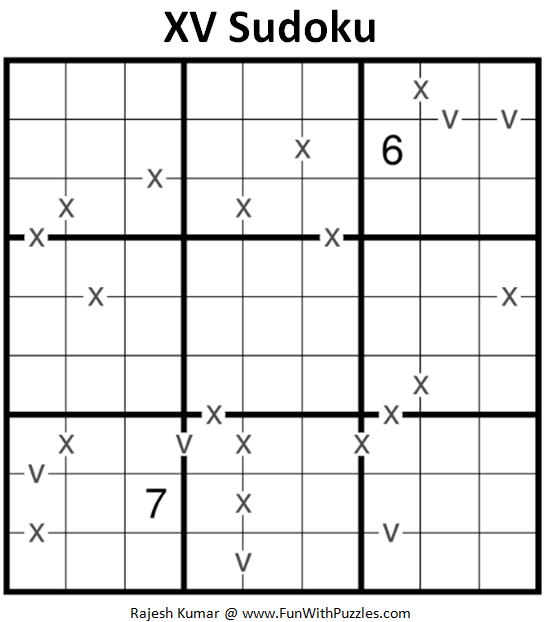 XV Sudoku Puzzle (Daily Sudoku League #207)