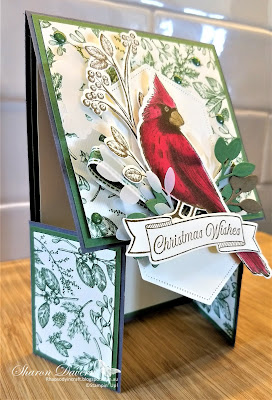 Christmas Card, Double Dutch Card, Toile Christmas, 2019 Holiday catalogue, Stampin' Up, Toile Tidings, Rhapsody in craft, #loveitchopit, Christmas card