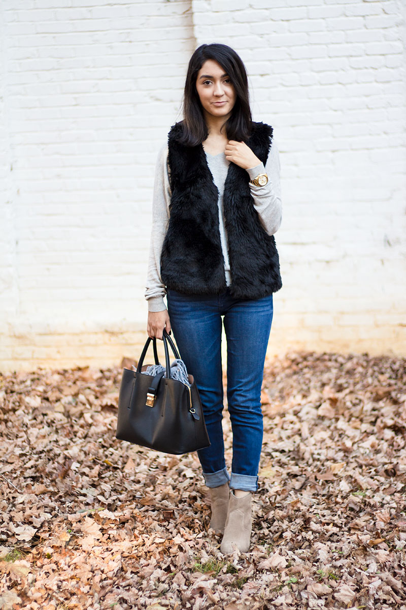 How to style faux fur vest