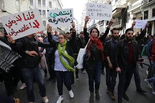Students marching on Algeria's Streets for peaceful demonstration