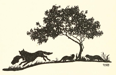 illustration for the two otters and the wolf / jackal