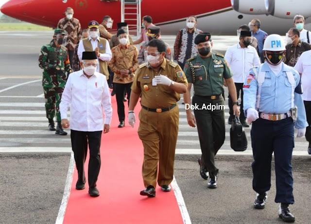 Gubernur Arinal dan Forkopimda Provinsi Lampung Sambut Kunjungan Wapres K.H. Ma'ruf Amin dalam Rangka Peninjauan Vaksinasi dan Bendungan Way Sekampung