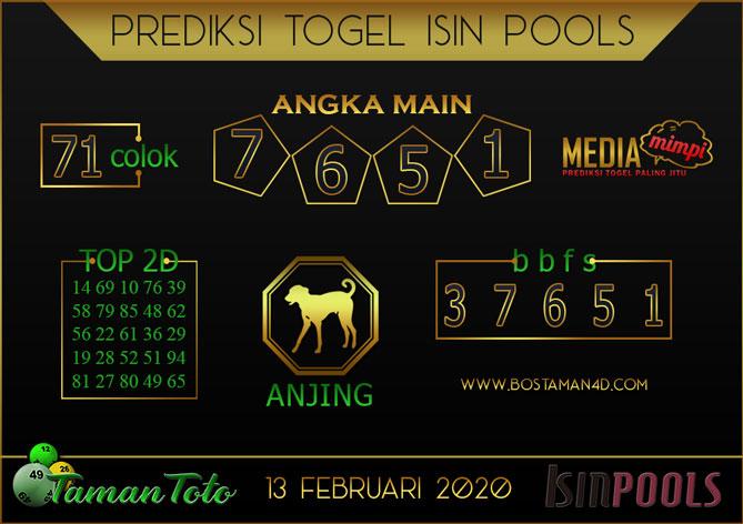 Prediksi Togel ISIN TAMAN TOTO 13 FEBRUARY 2020