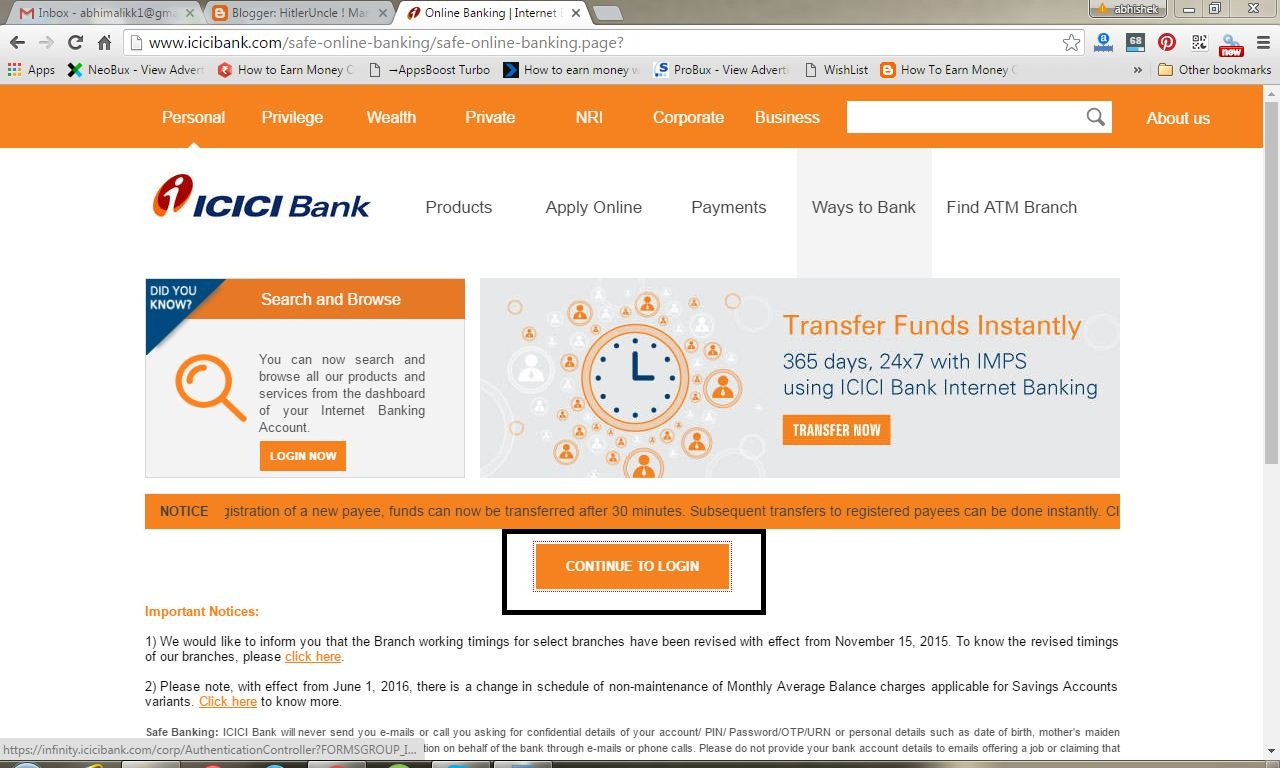 how to transfer funds through icici net banking