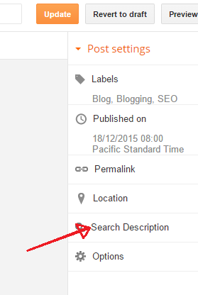 enable search description in blogger