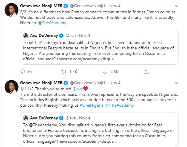 Genevieve Nnaji react as LionHeart movie disqualified from Oscar consideration