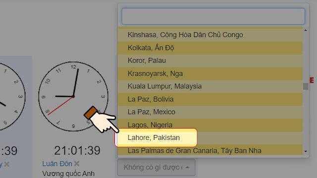 Sau đó, bạn chọn quốc gia muốn xem giờ.