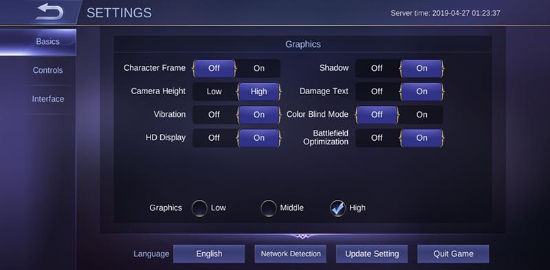 Mobile Legends settings