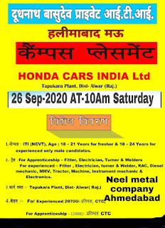 Honda Cars and More Companies ITI Jobs Campus Placement In  Doodh Nath Vasudev Private ITI, Mau (U.P.)