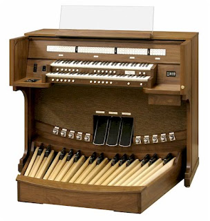 The Organ Console with attached pedal board