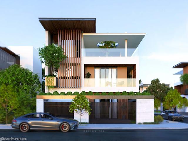 render 3d mặt đứng biệt thự phố hiện đại mới nhất 2020